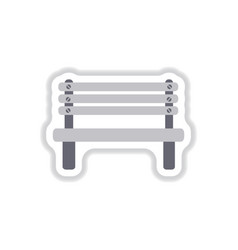 wooden bench in paper sticker style park vector image