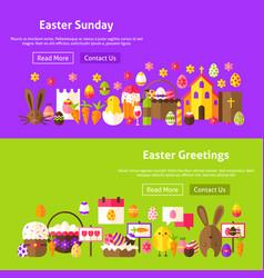 Easter greetings website banners vector