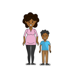 Woman pregnant and her son icon vector