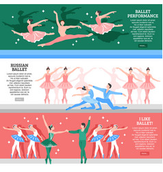 Ballet flat banners set vector