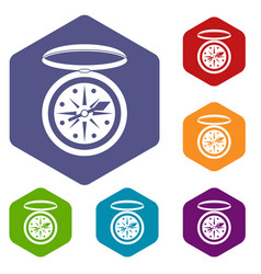 Compass icons set hexagon vector
