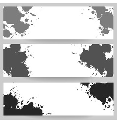 Horizontal banners with grey paint splash vector