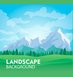 Sunny mountain landscape background vector