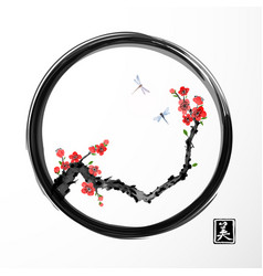 Red sakura cherry tree and two blue dragonflies in vector