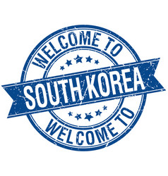 Welcome to south korea blue round ribbon stamp vector
