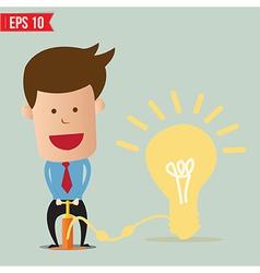 Cartoon business man pumping idea balloon - vector