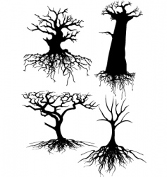 Four different old tree silhou vector