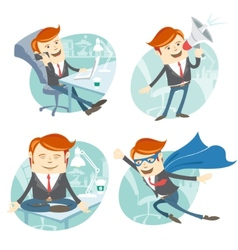Office man hipster set flying super man wearing vector