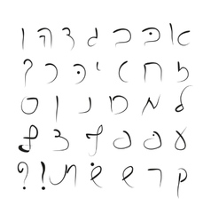 Hebrew alphabet uppercase font hand drawing vector