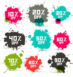 Retro transparent colorful discount sale splashes vector