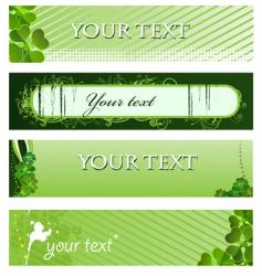 set of green banners vector image