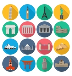 World landmark icon set with long shadow vector