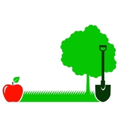 Garden background with tree shovel and grass vector