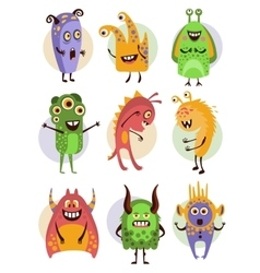 Colourful emotional cartoon monsters vector