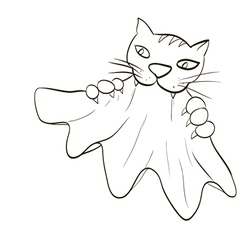 Cat teeth and claws gripped the cloth vector