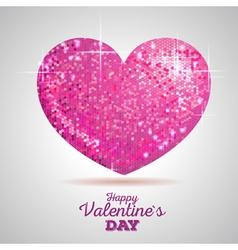 Valentine sparkle pink love heart vector