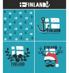 Finland collection of labels vector