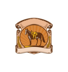 Horse western saddle scroll woodcut vector