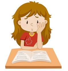 Girl reading book on the table vector