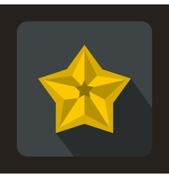 Shiny golden star icon flat style vector