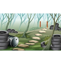 A forest with tires vector
