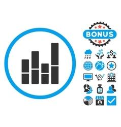 Bar Chart Flat Icon with Bonus vector image vector image
