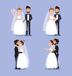 bride and groom set wedding couples romantic vector image vector image