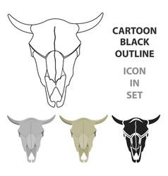 Bull skull icon cartoon singe western icon from vector