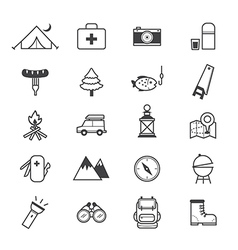 Camping icons line vector