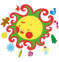 christmas sun vector image
