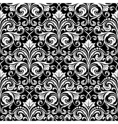 Damask black and white pattern vector image