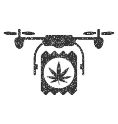 Drone Cannabis Delivery Grainy Texture Icon vector image