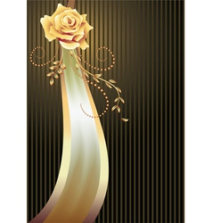 Elegant ribbon and golden rose vector image