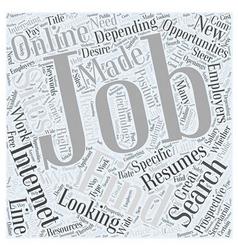Finding jobs online word cloud concept vector