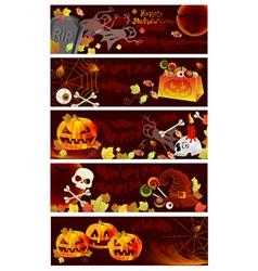 Five Halloween card set vector image