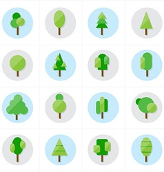 Flat Tree Icons vector image vector image
