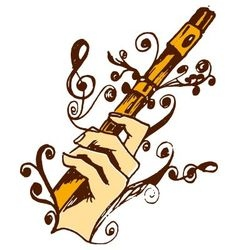 Flute in hand vector image vector image