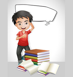 Happy boy and stack of books vector