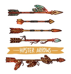 Hipster color sketch arrows set vector