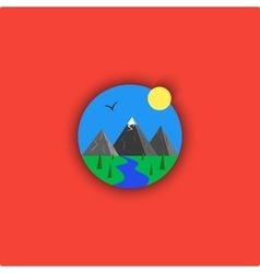 Landscape logo cartoon minimalistic vector