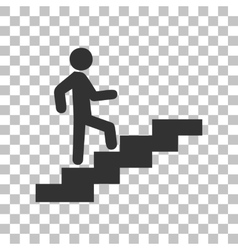 Man on stairs going up dark gray icon on vector