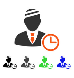 Man patient clock flat icon vector