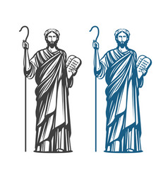 moses holds in hand two stone tablets of covenant vector image