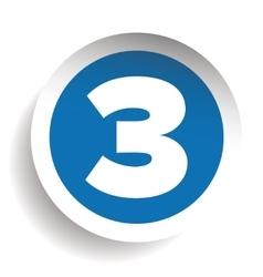 Number three sticker blue vector