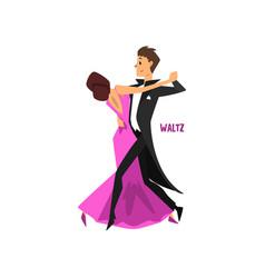 Professional dancer couple dancing waltz pair of vector