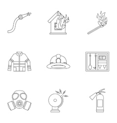 Protection from fire icons set outline style vector