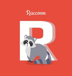 Raccoon with letter r isolated abc alphabet vector