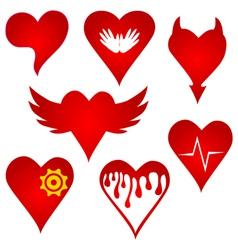 red heart shape original design set vector image