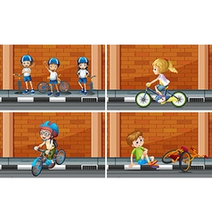 Scenes with kids on bike vector