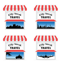 street stall with travel sign vector image vector image